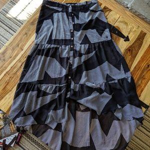 Volcom Flowy boho hi low  tiered skirt